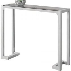 Slim Console Table,Small Accent,Tempered Glass,Silver