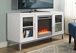 WE Furniture 52″ Avenue Wood Fireplace TV Console with Metal Legs – White