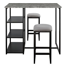 Dorel Living DL7699 Farley 3-Piece Pub Set with Faux Concrete Top, Gray/Black