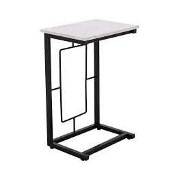 Adeco C-Sharped Accent Table, Marble Style Table Top with Black Metal Leg, 14×10 inches Tab ...