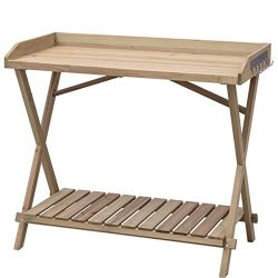 Table Wood Potting Bench Console Serving Workstation Shelf Display Patio Outdoor