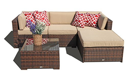 Super Patio 5 Piece Outdoor Furniture Sectional Set, All Weather PE Brown Wicker Set Sofas with  ...