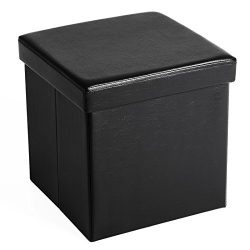 SONGMICS 15″ x 15″ x 15″ Storage Ottoman Cube / Footrest Stool / Coffee Table  ...