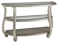 Signature Design by Ashley T820-4 Coralayne Traditional Glass Top Sofa Table, Silver Finish