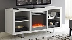 WE Furniture 58″ Simple Modern Fireplace TV Console – White