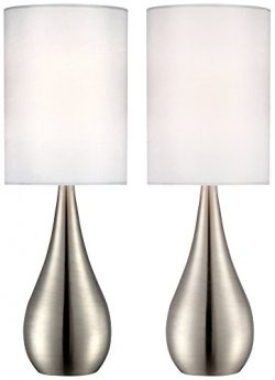 Evans Teardrop Brushed Steel Table Lamp Set of 2