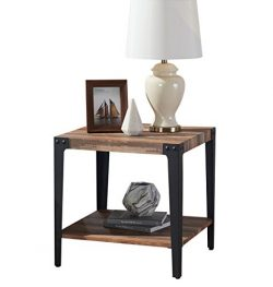 O&K Furniture Industrial Square Side End Table with Lower Shelf for Living Room & Bedroo ...