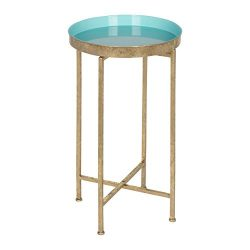 Kate and Laurel 212373 Celia Round Metal Foldable Tray Accent Table, Light Teal and Gold