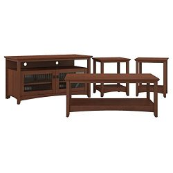 Bush Furniture Buena Vista TV Stand, Coffee Table and Set of 2 End Tables in Serene Cherry