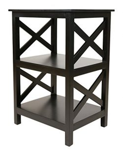 Pearington Multi Purpose Fully Assembled X Design Side/End Table With Storage, Black