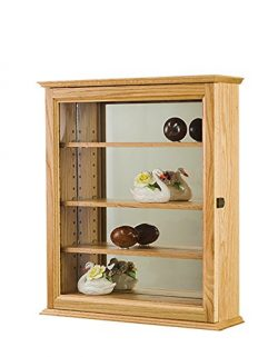 Display Case- Curio Cabinet- Wall Hanging- Mirror Back- Oak