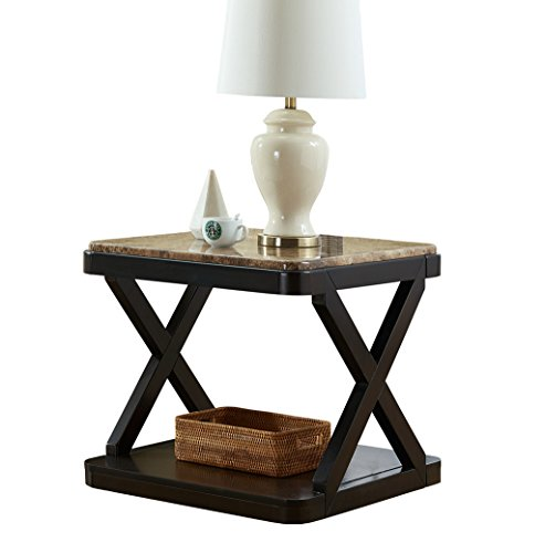 O&K Furniture Modern Square Faux Marble Top Side End Table with Storage Shelf for Bedroom an ...