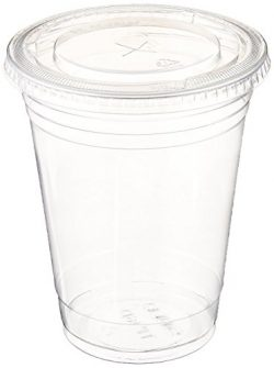 Table To Go 16 Oz 100 Piece Set Plastic Clear Cups with Flat Lids for Iced Coffee Bubble Boba Te ...