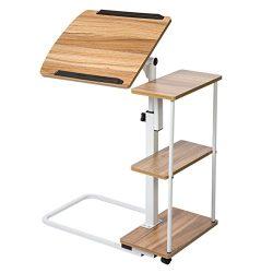 SDADI Adjustable Overbed Table with Wheels Laptop Cart Sofa Side Table Laptop Desk Computer Desk ...