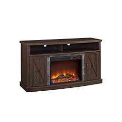 Ameriwood Home Barrow Creek Electric Fireplace TV Stand for TVs up to 60″, Espre