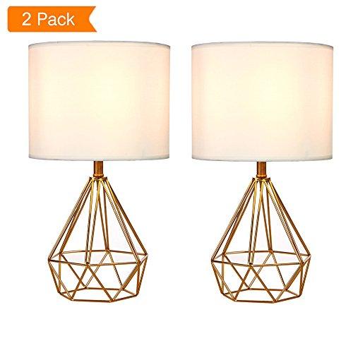 SOTTAE Golden Hollowed Out Base Modern Lamp Bedroom Livingroom Beside Table Lamp, 16″ Desk ...