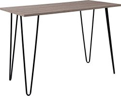 Contemporary Sleek Design Driftwood Wood Grain Finish Console Table with Black Legs