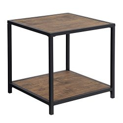 SONGMICS Industrial Sofa Side Table, Metal Frame Accent End Table, with Storage Shelf, for Livin ...