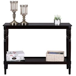 SONGMICS Wood Console Sofa Table and BookShelf with Storage Shelves for Entryway, Living Room, W ...