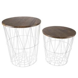 Lavish Home Convertible Round Metal Basket Veneer Wood Top Accent Side Tables for Home and Offic ...