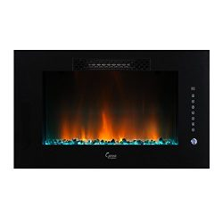 Caesar Luxury Linear Wall Mount Recess Freestanding Multicolor Flame Electric Fireplace, 30-Inch