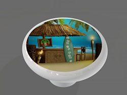 Tiki Beach Surfer Bar Gloss Ceramic Drawer Knob