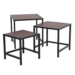 SONGMICS Nesting Tables, Industrial 3-Piece Side End Table Set, Modern Decor for Living Room, Be ...