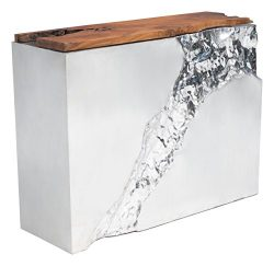 LUXE CONSOLE TABLE NATURAL&SS Natural & Stainless Steel