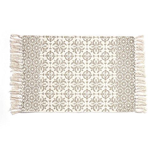 Cotton Printed Rug, Seavish Decorative Grey Moroccan Hand