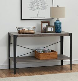 O&K Furniture 2-tier Industrial Sofa Table, Metal Hall Console Table with storage shelf for  ...