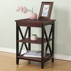 Soges Classic End Table Coffee Table Night Stand Side Table Sofa Table with 3-tier Shelf 17 inch ...