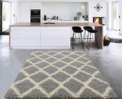 Sweet Home Stores Cozy Shag Collection Moroccan Trellis Design Shag Rug Contemporary Living &amp ...