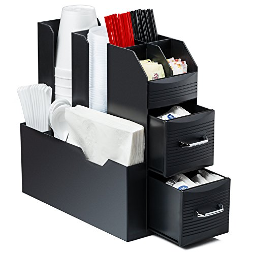 Halter Coffee Accessories Caddy Organizer – 9 Compartments and 2 Drawers