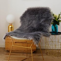 iisutas Faux Fur Sheepskin Rug,Fluffy Chair Seat Cover Floor Mat Carpet Area Rugs for Living Roo ...