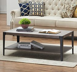 O&K Furniture Industrial Rectangular Cocktail Coffee Table with Storage Shelf for Living Roo ...