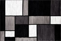 Rugshop Contemporary Modern Boxes Area Rug 2′ x 3′ Gray
