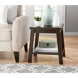 Sturdy Small Side Table with Open Shelf for Storage Set of 2 (Espresso)