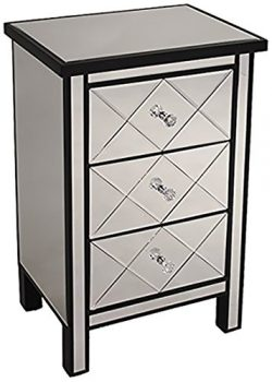 Heather Ann Creations Modern 3 Drawer Accent Chest/Console with Front Beveled Mirrored Finish, 3 ...