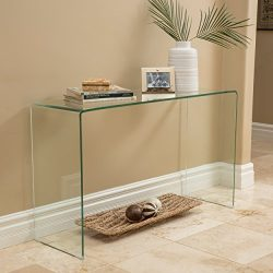 Christopher Knight Home 296696 Cadyn Tempered Glass Console Table, Clear