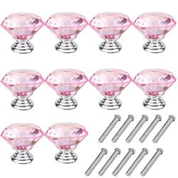 Mosong 10pcs 30mm Glass Clear Cabinet Knob Drawer Pull Handle Kitchen Door Wardrobe Hardware Use ...