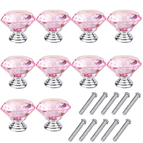 Mosong 10pcs 30mm Glass Clear Cabinet Knob Drawer Pull