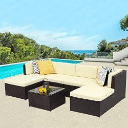 Wisteria Lane Outdoor patio furniture sets, 7 PC Wicker Sofa Set Garden Rattan Sofa Cushioned Se ...