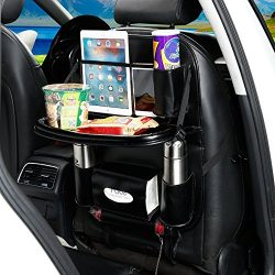 YOANKU Car Backseat Organizer with Dining Table – PU Leather Auto Back Seat Pocket Storage ...