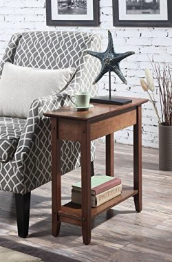 Convenience Concepts American Heritage Flip Top End Table, Dark Walnut