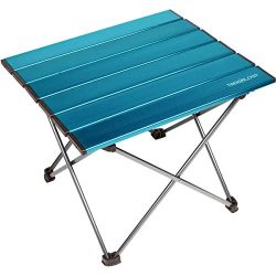 Trekology Portable Camping Side Tables with Aluminum Table Top: Hard-Topped Folding Table in a B ...