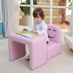 Emall Life Multi-functional Children's Armchair Kids Wooden Frame Chair and Table Set with ...
