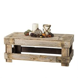 del Hutson Designs – Rustic Barnwood Coffee Table, USA Handmade Reclaimed Wood (Natural)
