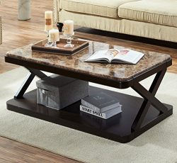 O&K Furniture Modern Faux Marble Top Coffee Table, Rectangular Cocktail Table with Bottom Sh ...