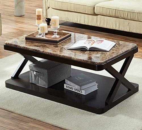 O&K Furniture Modern Faux Marble Top Coffee Table