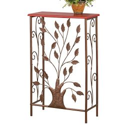 Collections Etc Iron Tree & Scroll Brown Wood Top Small Entryway Table for Hallway, Foyer, M ...